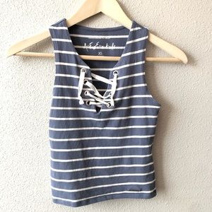 Abercrombie & Fitch Striped Lace Up CropTop Tank